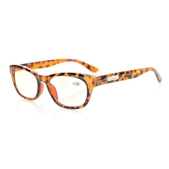 Eyekepper Spring Hinges Mens Womens Amber Tinted Lenses Computer Reading Glasses Tortoise+2.0