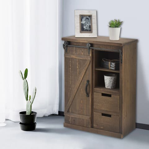 Storage Cabinet with Sliding Barn Doors Hardware and 2 Drawers