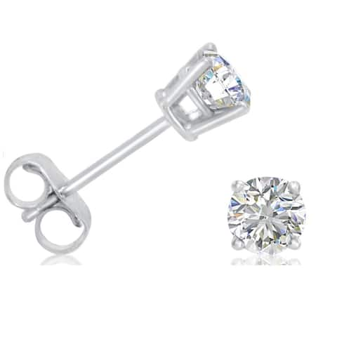 AGS Certified 1/2ct TW. (H-I Color) Diamond Solitaire Stud Earrings set in 14K White Gold