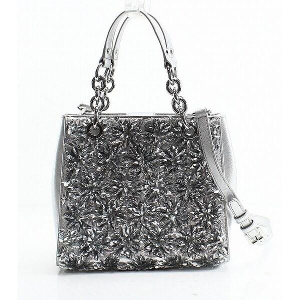 Michael Kors Silver Fl Burst Leather Small Satchel Bag Purse