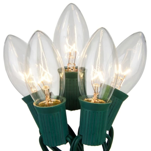 Wintergreen Lighting 19217 25 C9 7W Holiday Bulbs on Green Wire