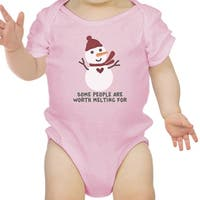 Worth Melting For Snowman Cute Graphic Baby Bodysuit Baby Boy Gift - Pink
