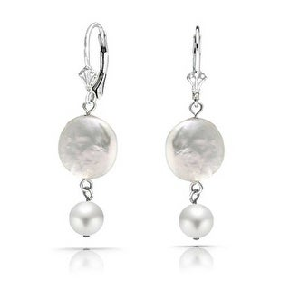 Bling Jewelry Sterling Silver Coin Cultured Pearl Bridal Leverback Earrings - White