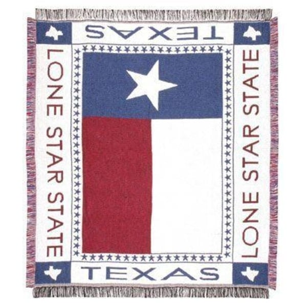 "Texas Lone Star Flag Afghan Throw Blanket 48"" x 60"""