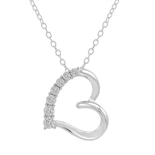 Amanda Rose 7 Stone Diamond Heart Pendant in .925 Sterling Silver