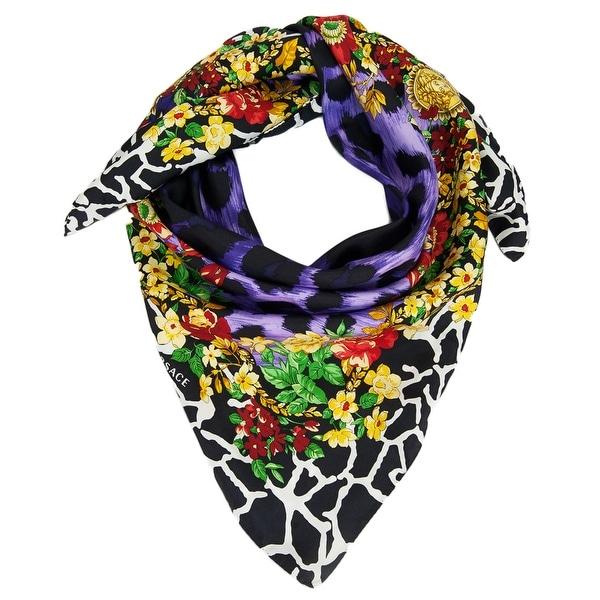Versace VDA 9917 Purple Floral Safari Purple 100% Silk Scarf - 36-36