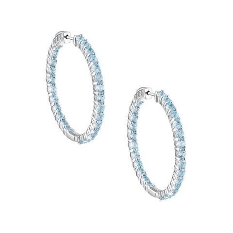Inside-Out Round Cut Gemstone Hoop Earrings, Sterling Silver