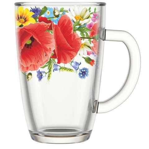 STP-Goods Poppy Field Glass Tea Coffee Large Mug