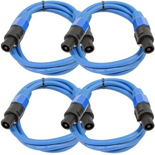 SEISMIC AUDIO 4 Pack of 12 Gauge 5' Blue Speakon to Speakon Speaker Cables