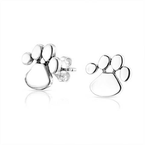 d401c27ec Tiny BFF Dog Cat Puppy Kitten Paw Print Animal Lover Pet Paw Stud Earrings  For Women
