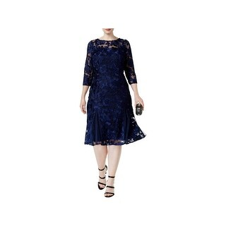 Alex Evenings Womens Plus Special Occasion Dress Embroidered Knee-Length