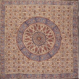 Handmade Kalamkari Mandala Block Print 100% Cotton Tablecloth Rectangular Square Round Napkins