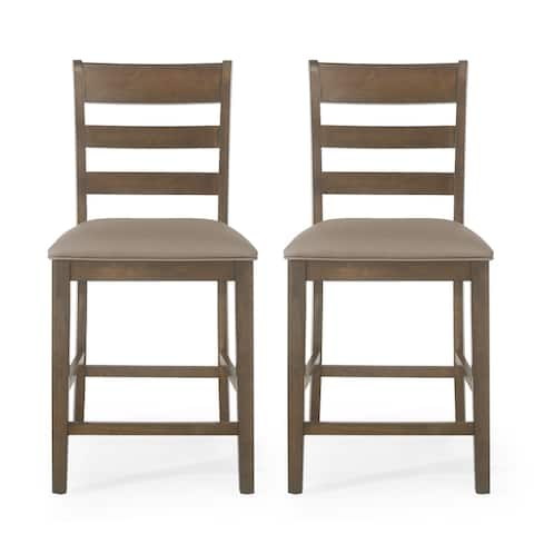 "Benner Farmhouse Upholstered Wood Counter Stools (Set of 2) by Christopher Knight Home - 20.00"" L x 22.50"" W x 41.34"" H"