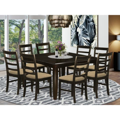 9 Pc Dining Room Set - Square Table and 8 Chairs in Cappuccino Finish
