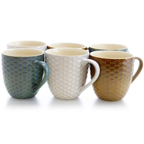 Elama Honey Bee 6-Piece 15 oz. Mug Set, Assorted Colors