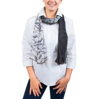 Ungaro UN7018 S8058 Floral Mesh Print Grey Silk Scarf - 71-27
