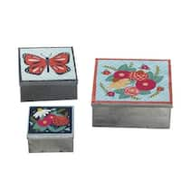 """Club Pack of 12 Vibrantly Colored Floral Pattern Tin Box Sets 7"""" - Multi"""