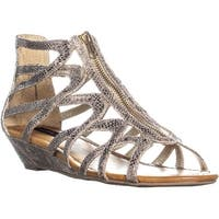 MG35 Molive Gladiator Front Zip Sandals, Gold - 9.5 us