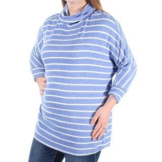 MAISON JULES $59 Womens New 1407 Blue White Striped 3/4 Sleeve Top M B+B