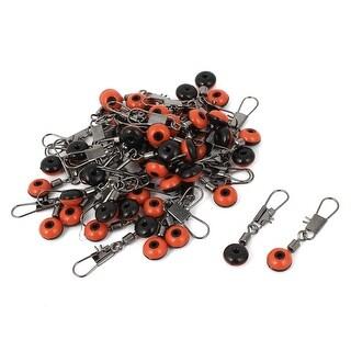 Unique Bargains 50 Pcs Red Black Faux Bead Line to Hook Fishing Swivel Connectors 30mm Long
