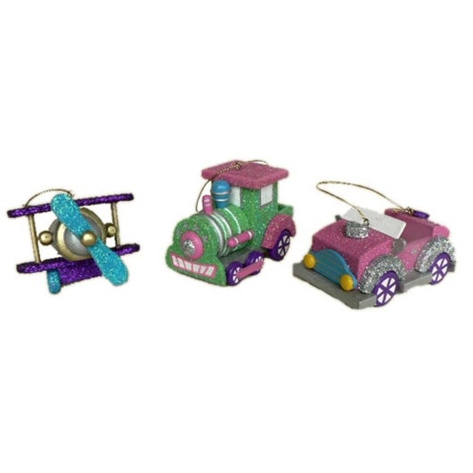 Set of 3 Fairy Whispers Planes Trains and Automobiles Christmas Ornament Set