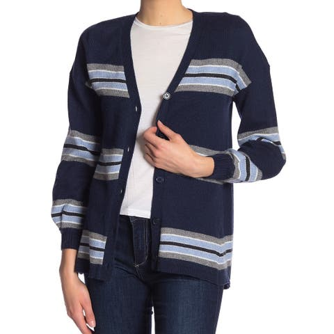 Democracy Women's Small Striped Cardigan Sweater