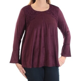 Womens Purple Bell Sleeve Jewel Neck Casual Top Size L
