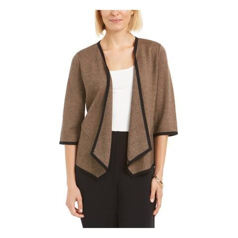 ALFANI Womens Brown 3/4 Sleeve Open Cardigan Sweater Size S