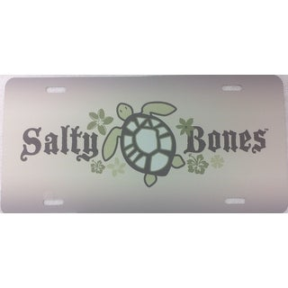Air Brushed Salty Bones Sea Turtle w/Flowers Plate Tan