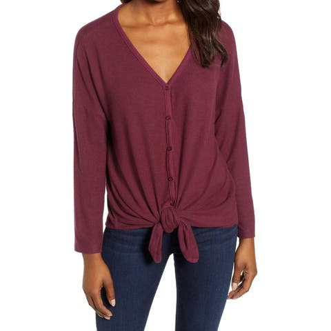 Caslon Womens Top Deep Red Size Large L Button Down Tie-Front V-Neck