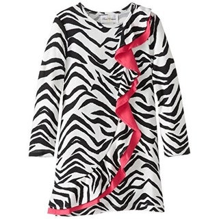Rare Editions Girls Zebra Print Belted Casual Dress