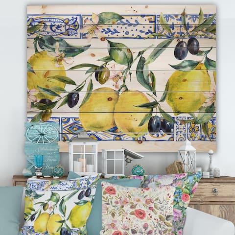 Designart 'Lemon Ornament On Blue Geometrical Pattern II' Tropical Print on Natural Pine Wood