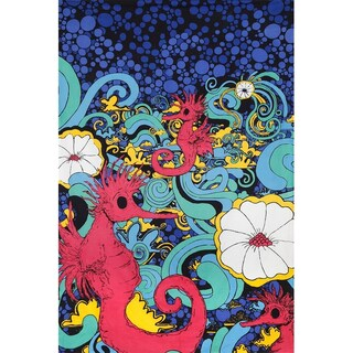 Handmade 100-percent 3D Psychedelic Seahorse Under Sea Party Tapestry Tablecloth Beach Sheet 60x90