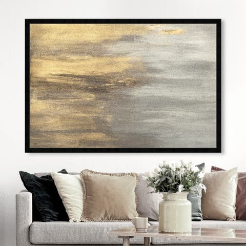 Oliver Gal 'Into The Night' Abstract Framed Wall Art Prints Paint - Gold, Gray