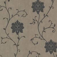 Brewster 450-58943 Dahli Pewter Floral Trail Wallpaper - Pewter Floral - N/A