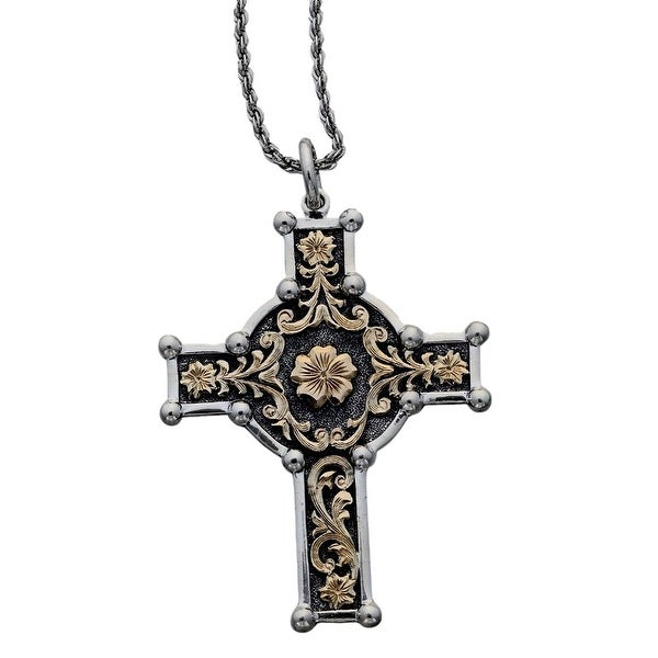 "Vogt Western Women Necklace Cross Scroll 18"" Silver Gold 016-120 - silver gold"