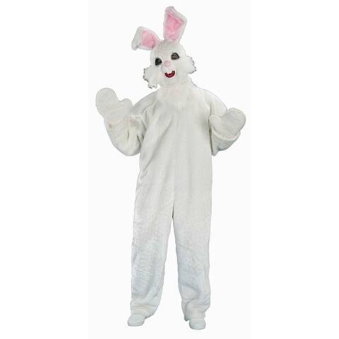 Plush Funny Bunny Costume Adult Standard - White