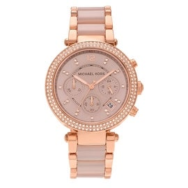 Michael Kors Women's 'Parker' MK5896 Rose Gold-tone Crystal Chronograph Bracelet Watch