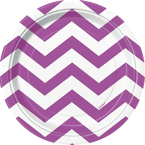 """Luncheon Plates 7"""" 8/Pkg-Pretty Purple Chevron"""