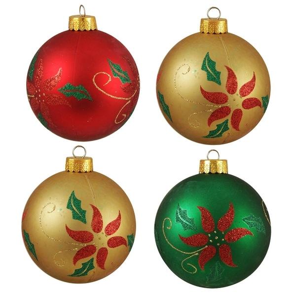 "4ct Glittered Poinsettia Shatterproof Christmas Ball Ornaments 3.25"" (80mm)"