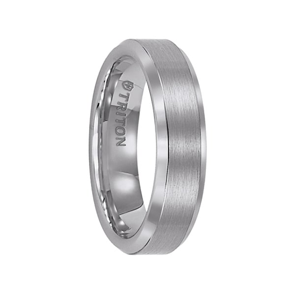 ELIAS Raised Brush Finished Center Tungsten Carbide Comfort Fit Ring with Bright Polished Step Edges by Triton Rings - 6 mm