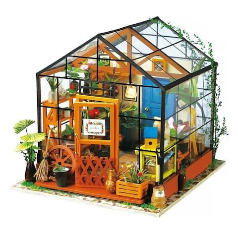 """DIY 3D Wooden Dollhouse Kit - Cathy's Flower House - 7.7x6.9x7.7"""""""