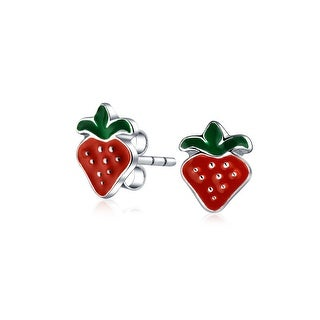Small Summer Fruit Red Strawberry Stud Earrings For Teen Women 925 Sterling Silver