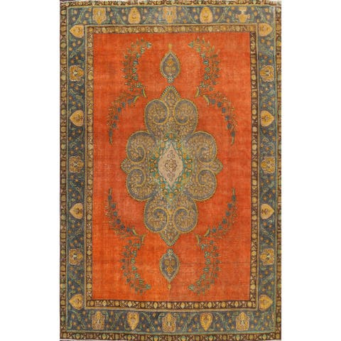 """Distressed Tabriz Persian Floral Area Rug Hand-knotted Wool Carpet - 9'9"""" x 12'10"""""""