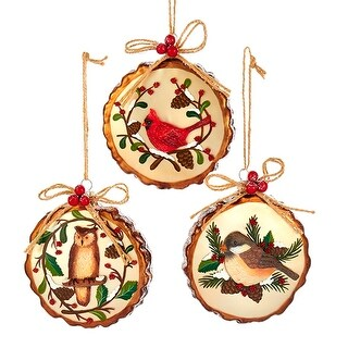 Woodland Birds Owl Cardinal Chickadee Christmas Holiday Ornaments Set of 3