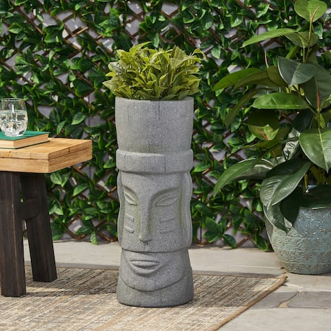 Poulan Outdoor Cast Stone Outdoor Polynesian Decorative Planter by Christopher Knight Home