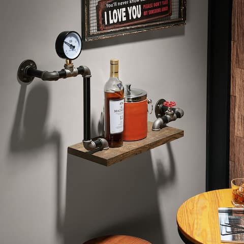 Pierre Reclaimed Oak Industrial Pipe Wall Shelf