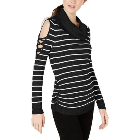 Hooked Up by IOT Womens Pullover Sweater Stripe Cowl Neck