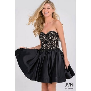 Strapless Beaded Satin Fit & Flare