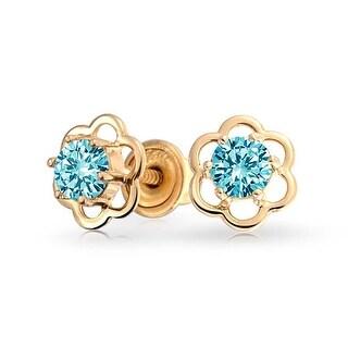 Bling Jewelry 14k Gold Light Blue CZ Screwback Kids Flower Stud Earrings